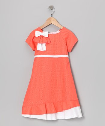 Gidget Loves Milo Coral Bow Ruffle Dress - Toddler & Girls