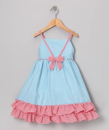 Gidget Loves Milo Blue & Red Gingham Ruffle Dress - Infant & Toddler