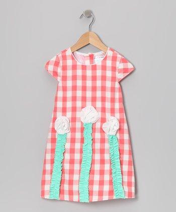 Gidget Loves Milo Coral Gingham Floral Dress - Toddler & Girls