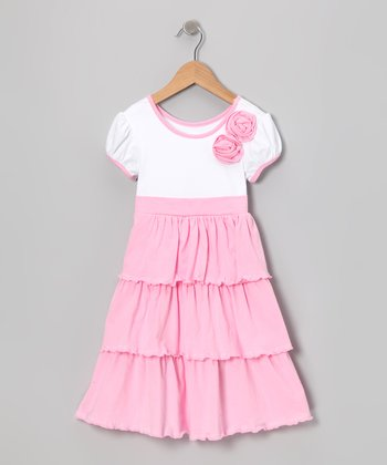 Pink & White Rosette Ruffle Dress - Toddler & Girls