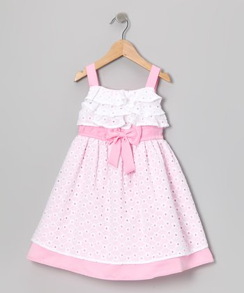 White & Pink Eyelet Dress - Infant, Toddler & Girls
