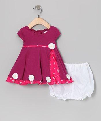 Gidget Loves Milo Fuchsia Daisy Jersey Dress & Bloomers - Infant, Toddler & Girls