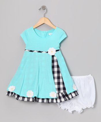 Gidget Loves Milo Aqua Daisy Jersey Dress & Bloomers - Infant