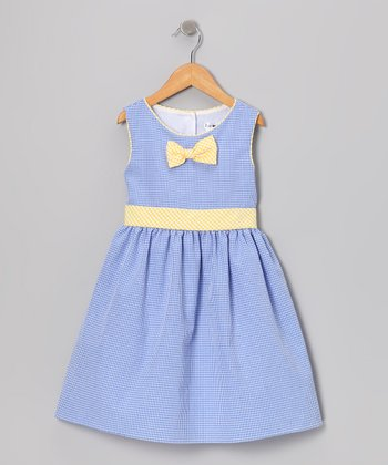 Blue & Yellow Gingham Bow Dress - Toddler & Girls