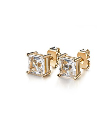 Gold Square Earrings Made With SWAROVSKI ELEMENTS