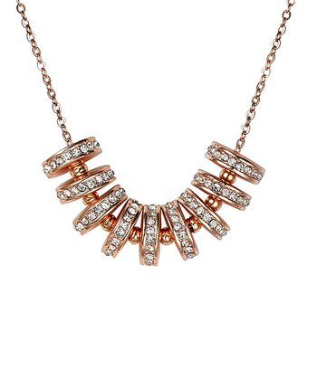 Rose Crystal SWAROVSKI ELEMENTS & Gold Whirl Necklace
