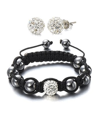 Clear Czech Crystal & Black Meridian Bracelet & Earrings