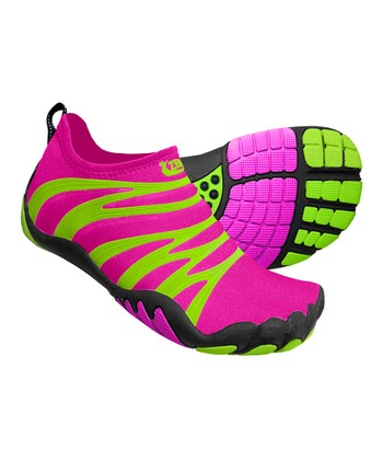 Hot Pink & Lime Terra Round Minimalist Running Shoe - Kids