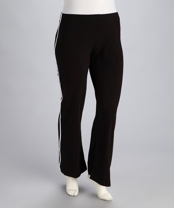Black Elastic-Waistband Lounge Pants - Plus