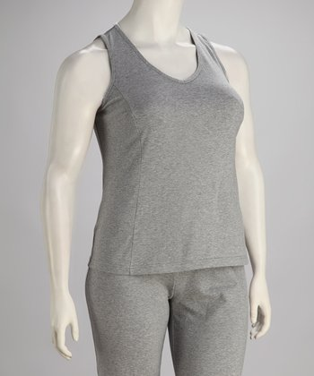 Gray V-Neck Tank - Plus