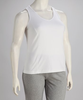 White V-Neck Tank - Plus