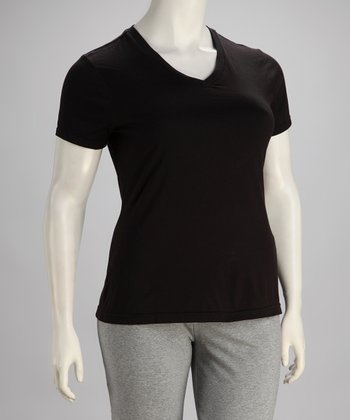 Black V-Neck Tee - Plus