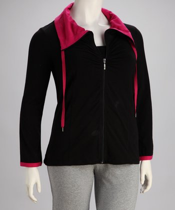 Black & Pink Hooded Track Jacket - Plus