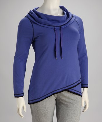 Blue Hooded Pullover - Plus