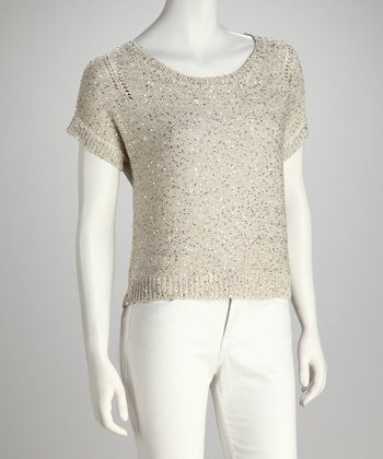 Champagne Sequin Short-Sleeve Sweater