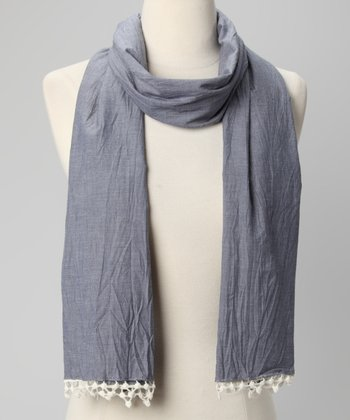Blue Lace-Trim Scarf