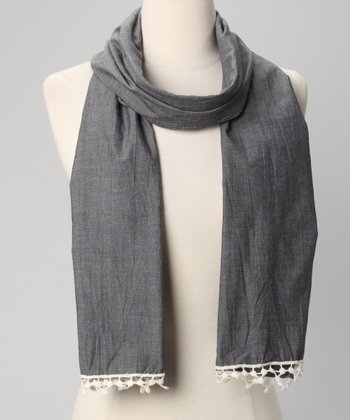 Gray Lace-Trim Scarf