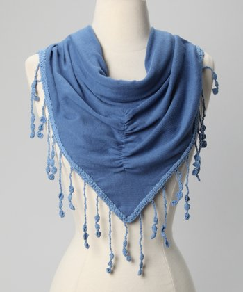 Light Blue Pom-Pom Fringe Triangle Scarf