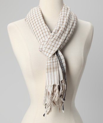 Sand Nautical Check Scarf