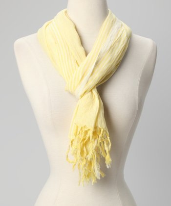Yellow Stripe Crinkle Scarf