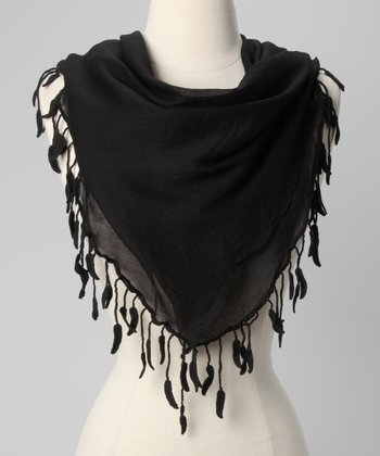 Black Leaf-Trim Scarf