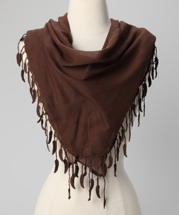 Brown Leaf-Trim Scarf