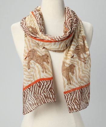 Brown Zebra Scarf