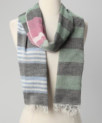 Dark Green & Gray Stripe Scarf