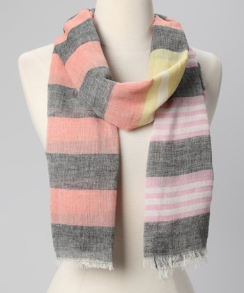 Papaya & Gray Stripe Scarf