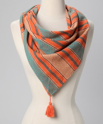 Papaya Tassel Triangle Scarf