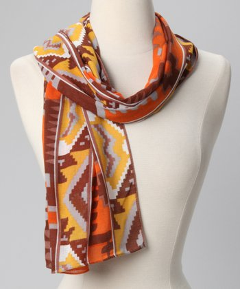Papaya Geometric Scarf