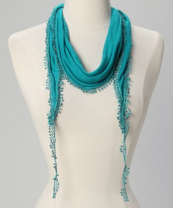 Bright Emerald Lace-Trim Scarf