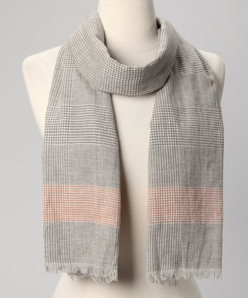 Chocolate Vichy Check Scarf
