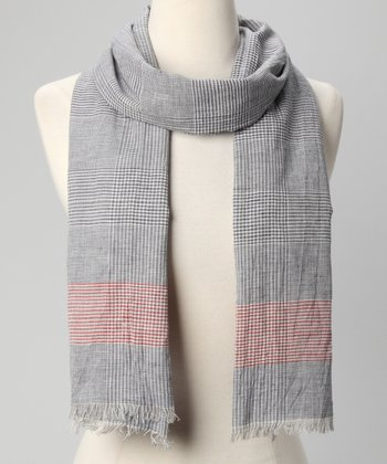Navy Vichy Check Scarf