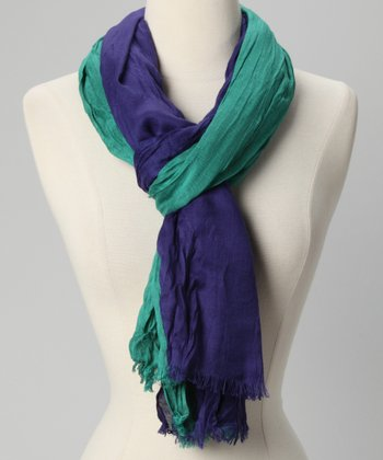 Bright Emerald Color Block Crinkle Scarf
