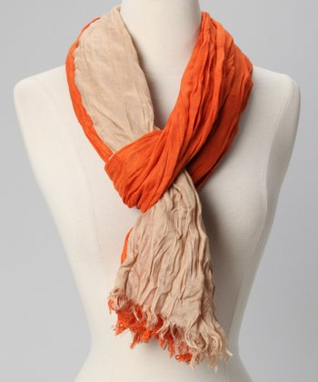 Papaya Color Block Crinkle Scarf