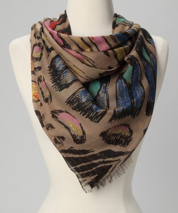 Stone Painted Jungle Cat Scarf