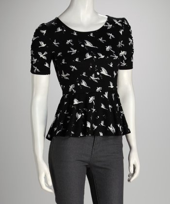 Black Bird Peplum Top