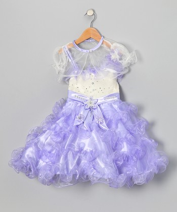 Lavender Ruffle Dress & Sheer Shrug - Toddler & Girls