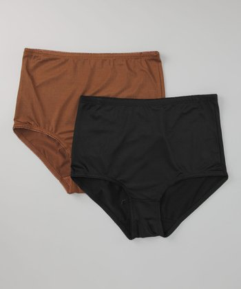 Black & Chocolate Shaper Briefs - Women & Plus