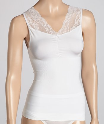 White Shirred Lace Camisole - Women