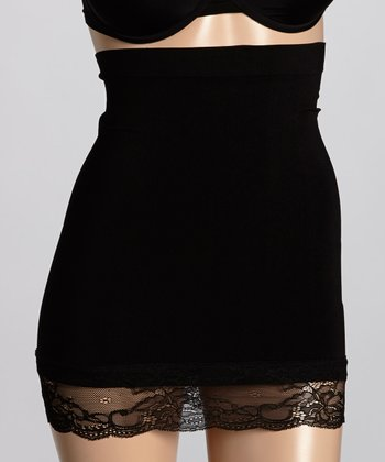 Black Lace-Trim High-Waist Shaper Slip - Women