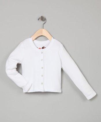 White Classic Cardigan - Toddler & Girls