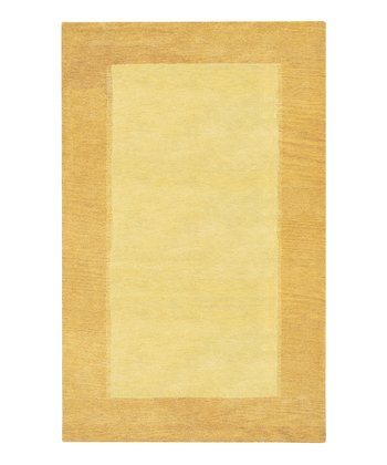Tan & Beige Border Wool Rug