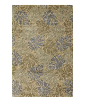Blue & Gray Leaf Rug