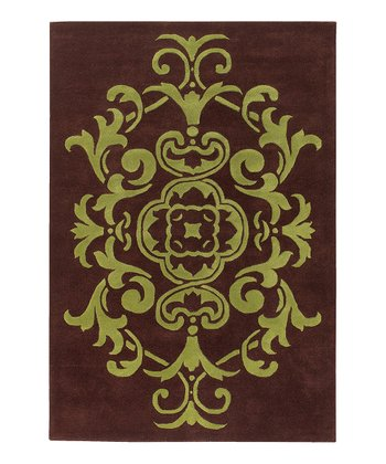 Green & Brown Transitional Wool Rug