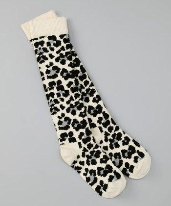 Happy Socks Black & Ivory Leopard Knee-High Socks