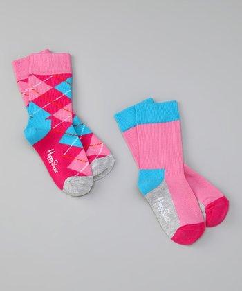 Happy Socks Pink & Blue Argyle Socks Set