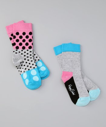 Happy Socks Gray & Blue Polka Dot Socks Set