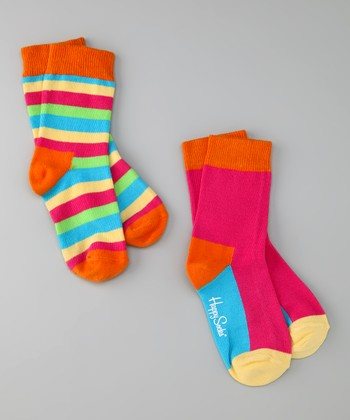 Pink & Orange Stripe Socks Set